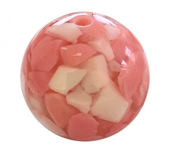 Mosaikperle 20mm - pink-rosa-weiss - 1 Stück