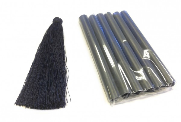 Troddel - Bommel - dunkelblau - 9cm - 6 Stück
