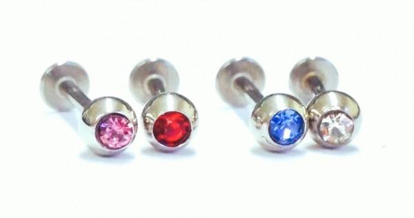 Wechselstab komplett mit Kristall - 8mm - Kugel 4mm - in versch. Farben