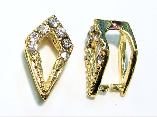 Collierschlaufe mit Dorn gold farbig - mit Kristall besetzt - 1 Stück