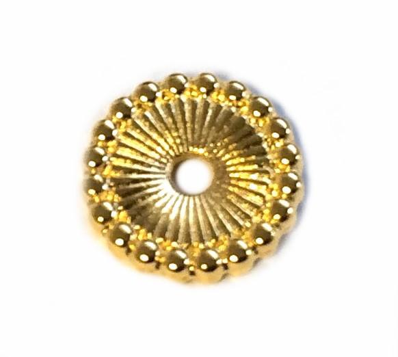 Spacer Scheibe 12mm gemustert - Loch 2mm - Farbe: gold