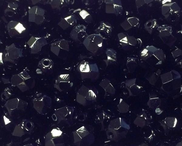 Glasschliffperlen 4mm - schwarz - 100 Stück - in bester Qualität !