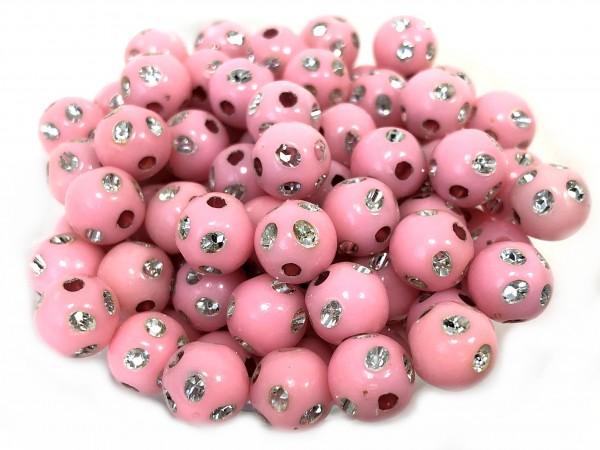 Strass-Look Perle 8mm - rosa - 100 Stück - Angebot