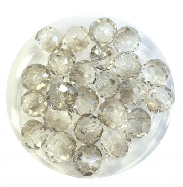 Glasschliffperlen Rondelle 6x4mm - black diamond - 25 Stück - in bester Qualität !