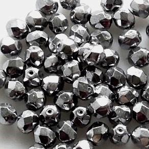 Glasschliffperlen 4mm - crystal platin bedampft - 100 Stück - in bester Qualität !