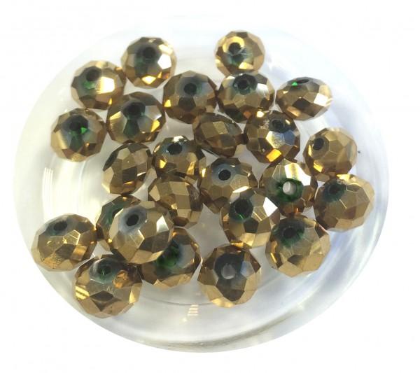 Glasschliffperlen Rondelle 6x4mm - Farbe: altgold - 25 Stück - in bester Qualität !