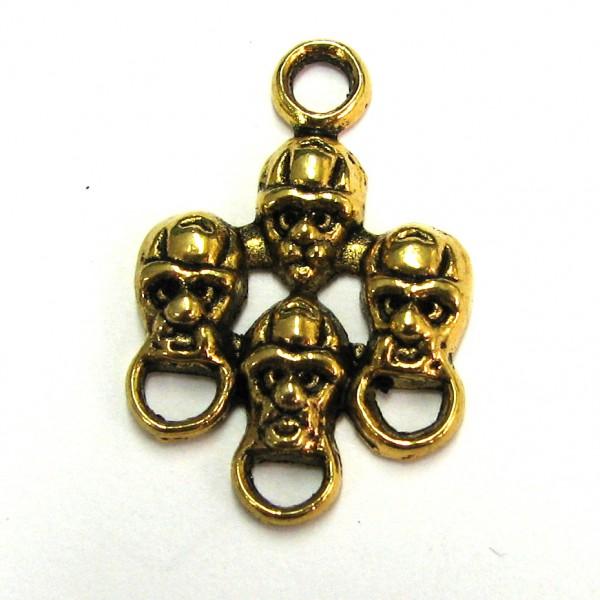Charmsträger - Charmsverbinder Totenkopf mehrfach - antique gold farbig