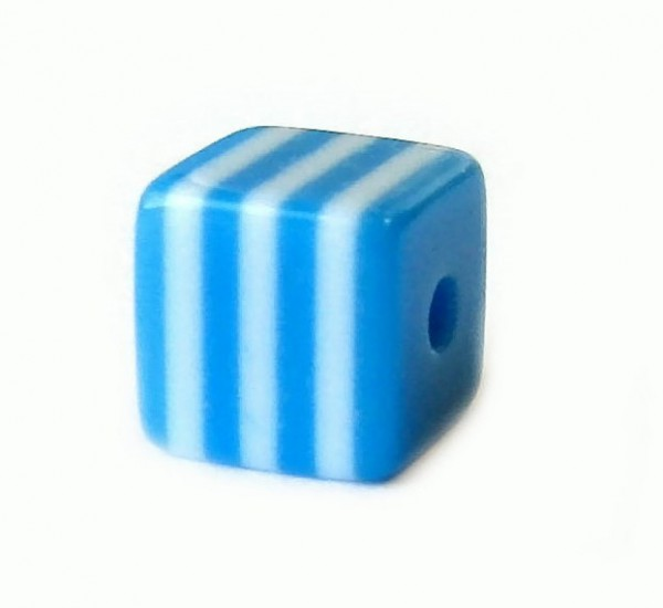 Würfel 8x8mm - Resin Stripes - blau-weiss